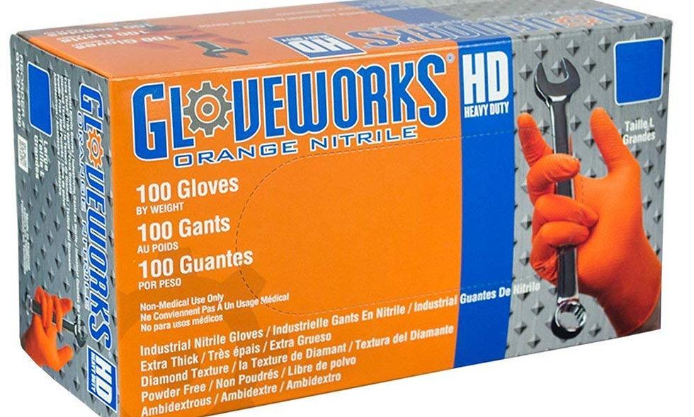 AMMEX®Gloveworks®HD Orange Nitrile Powder Free Industrial Gloves