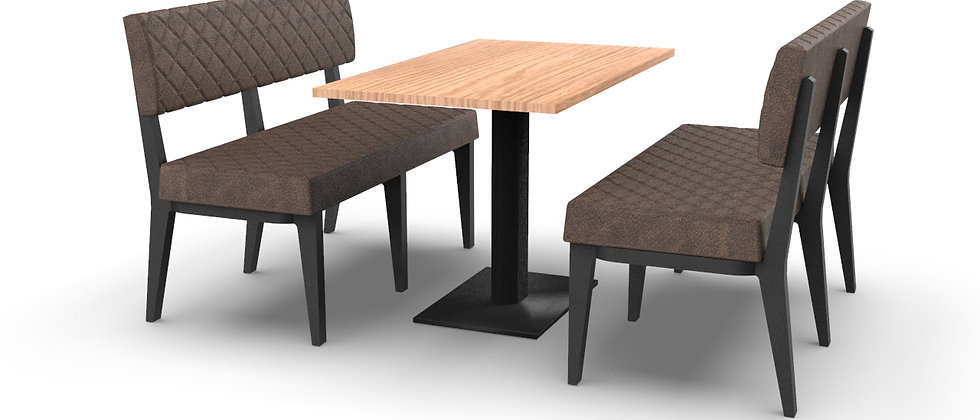 Simplicity Quilted - 4 Seater Booth Set & Table