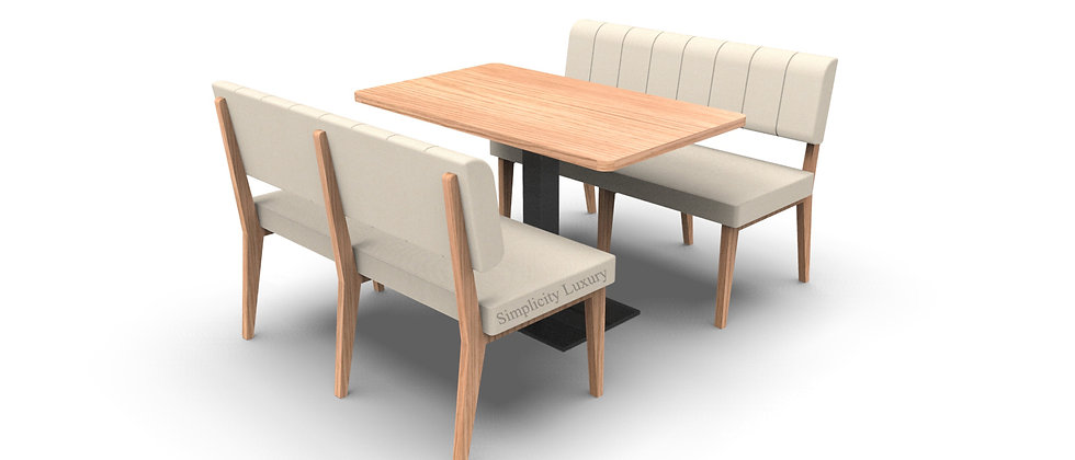 Simplicity Luxury - Complete 4 Seater 1200mm Booth Set & Table