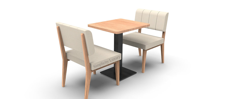 Simplicity Luxury - Complete 2 Seater 600mm Booth Set & Table