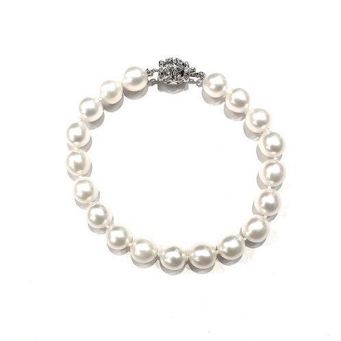 Bracciale Oro Bianco, Brillanti Perle
