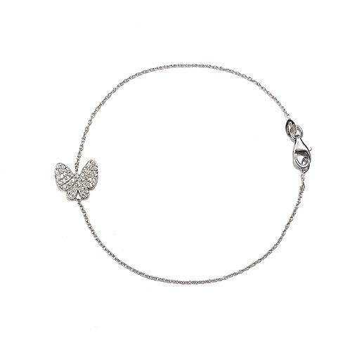 Bracciale in Oro Bianco e Farfalla