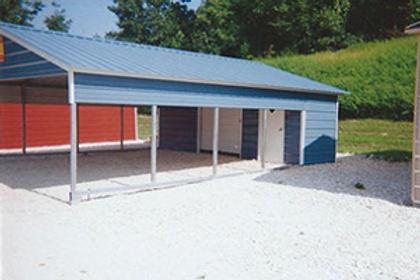 20x26x7 Carport + Storage Combo