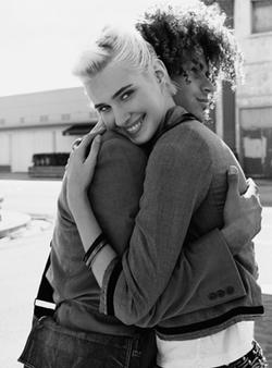 Hugging Couple B&W