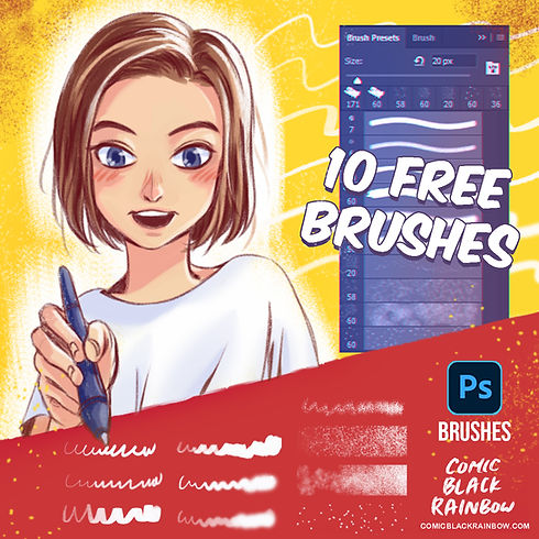 10 free PS brushes Comic Black Rainbow.j
