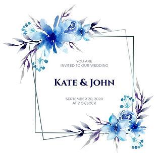 királykék esküvői meghívó motívum