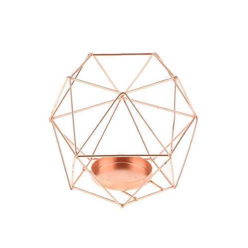 Geometrikus mécsestartó rosegold közepes