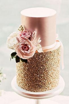arany és rosegold menyasszonyi torta
