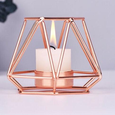 Geometrikus mécsestartó rosegold színű