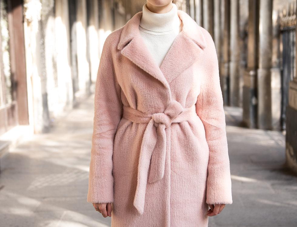 Faux fur coat VALERIE pale pink