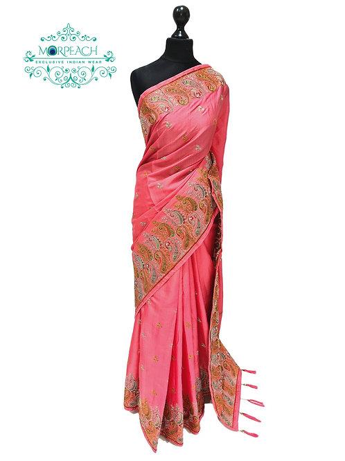 Dusky Pink Threadwork Saree