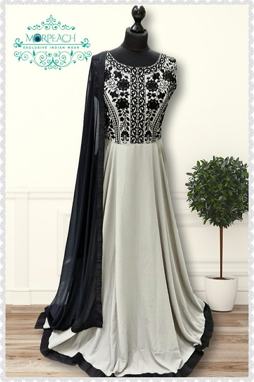 Grey and Black chiffon Gown (R)