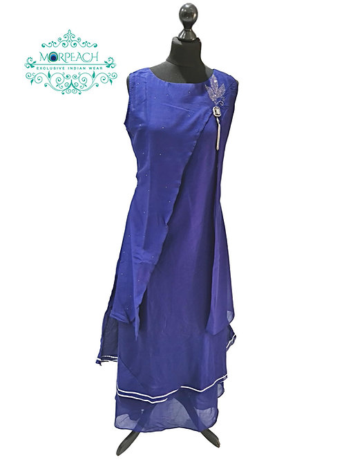Blue And Silver Partywear Kurti (XL)