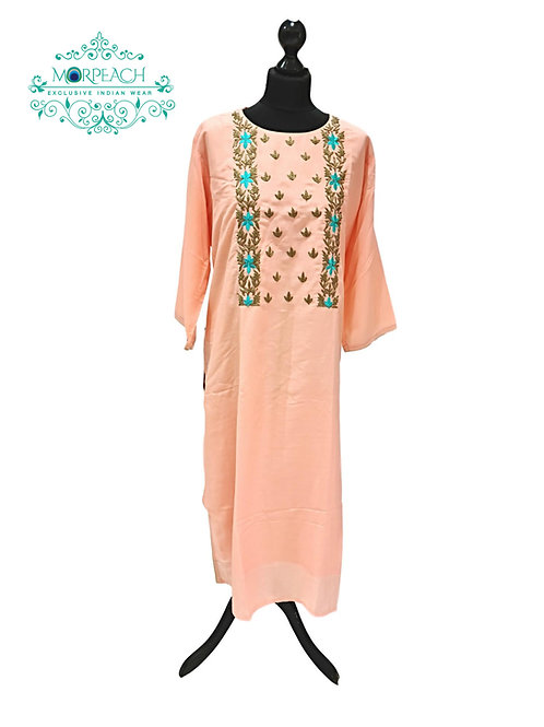 Peach Straight Cotton Silk Kurti (7XL)