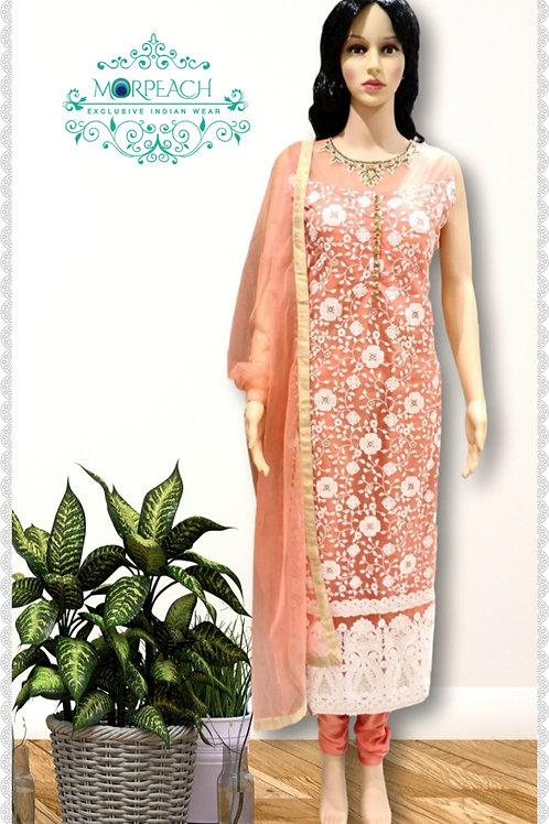 Peach Threadwork Straight Dress (Reg)