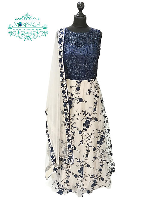 Blue and Cream Net Sequence Gown