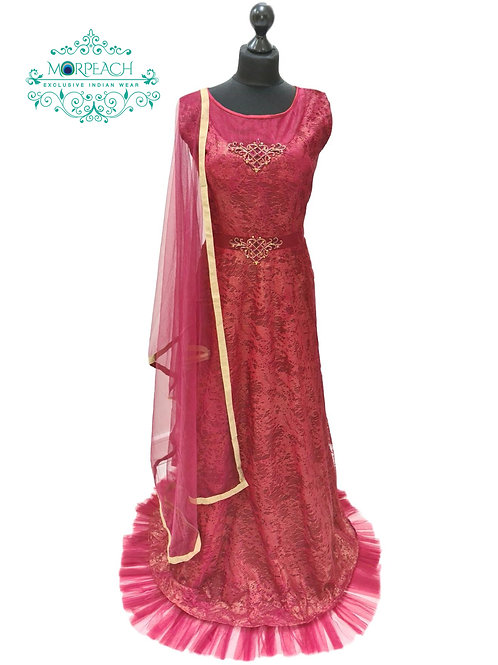 Maroon Net Gown (2XL)