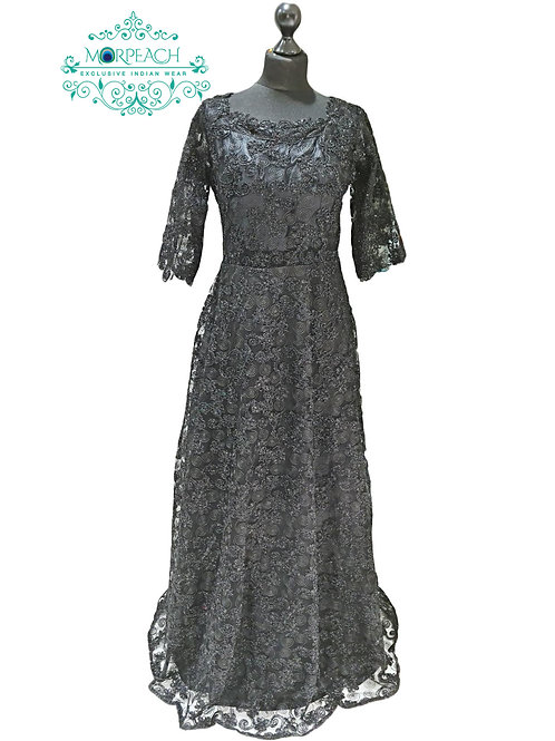 Black Glitter Net Gown (XL)