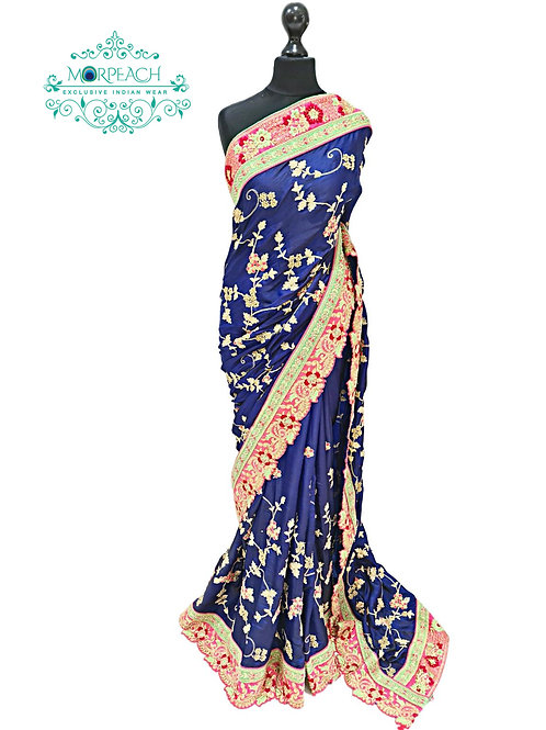 Blue Fully Embroidered Silk Saree