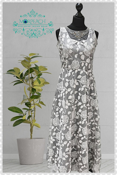 Grey And White Shimmer Gown (R)