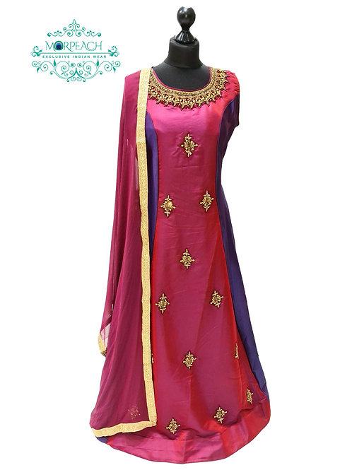 Purple A-Line Silk Dress (XL)