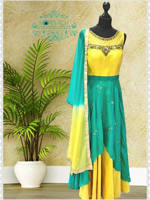 Yellow Chiffon Layered Dress (R)