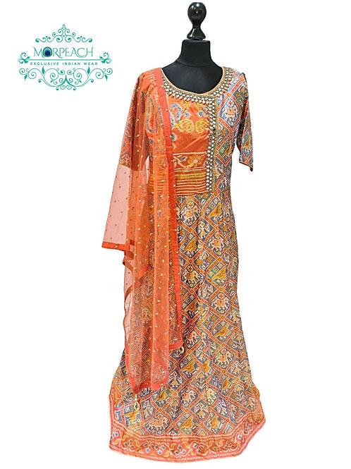 Patola Designed Silk Dress With Plazzo (4XL)