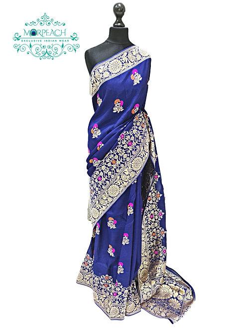 Blue Weaving Georgette Saree