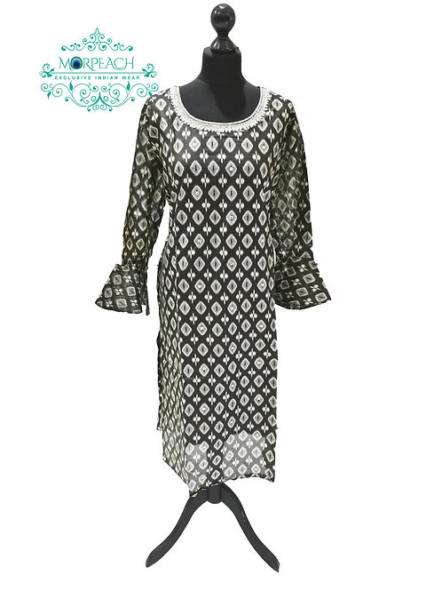 Grey And White Silk Kurti