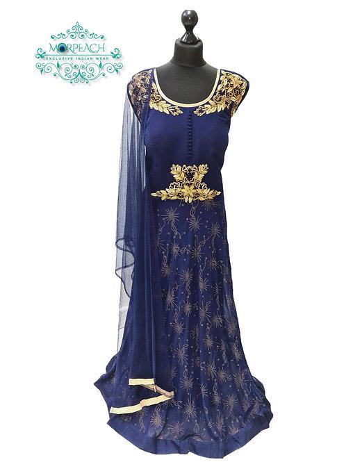 Blue Embossed Print Chiffon Dress (4XL)