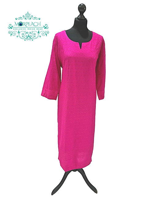 Bright Pink Sequence Kurti (4XL)