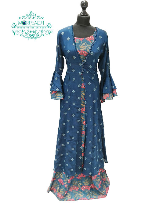 Blue Seperate Jacket Floral Gown (4XL)