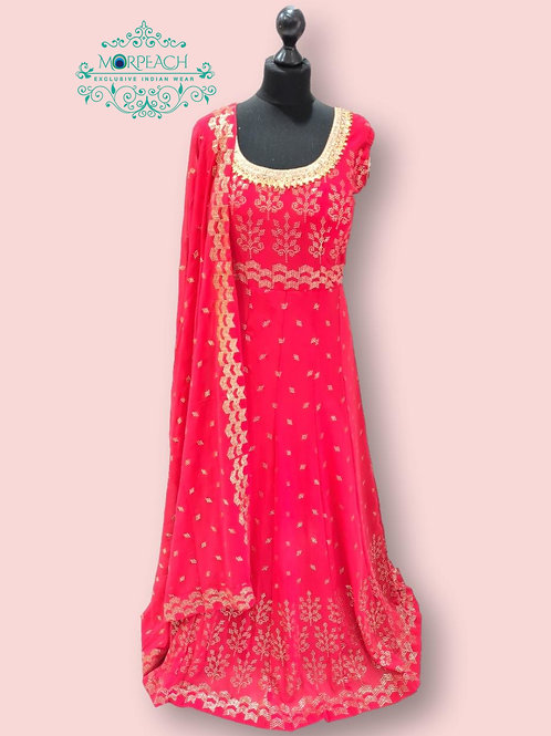 Pinkish Red Gold Embossed Sequence Dress (5XL)