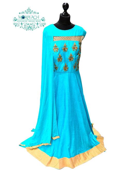 Sky Blue Flared Silk Dress (4XL)