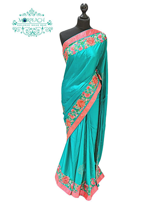 Sea Green Threadwork Silk Saree