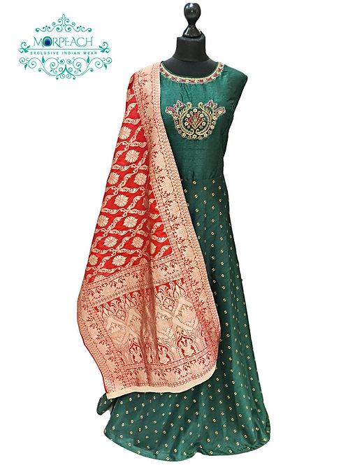 Green and Red Banarasi Dress (2XL)
