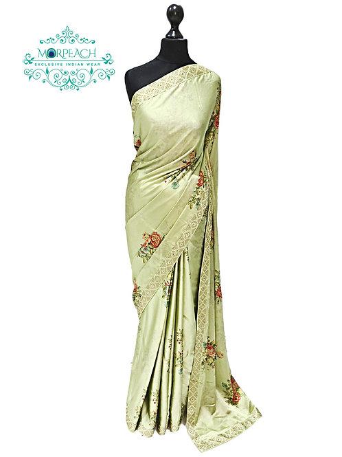 Green Floral Satin Silk Saree