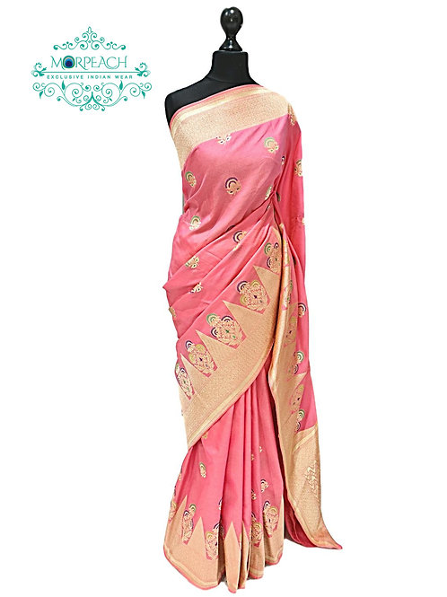 Peach Self Weaving Silk Saree