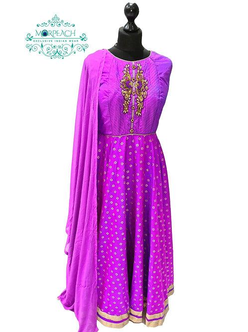 Purple Self Print Silk Anarkali Dress (XL)