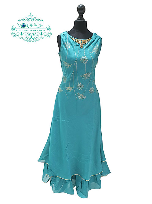 Blue Double Layered Kurti (5XL)