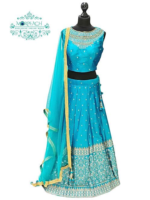 Blue Mirrorwork Banarasi Lehenga