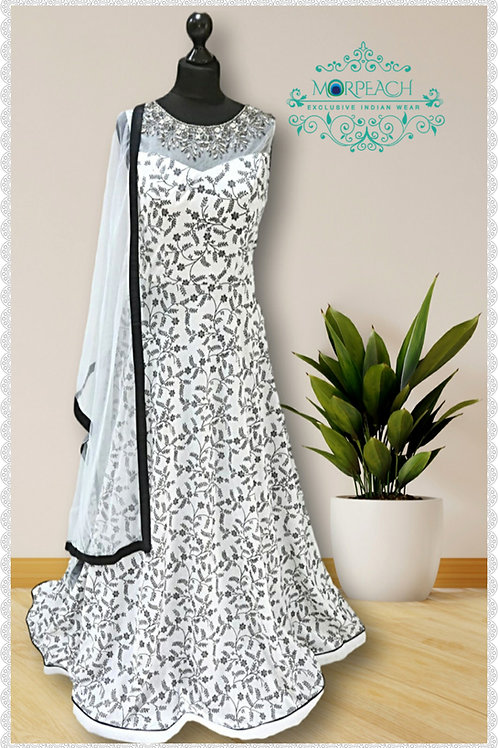 Partywear Sparkly Grey And Black Gown (R)