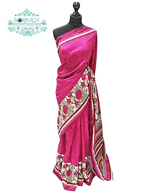 Pink Self Printed Saree