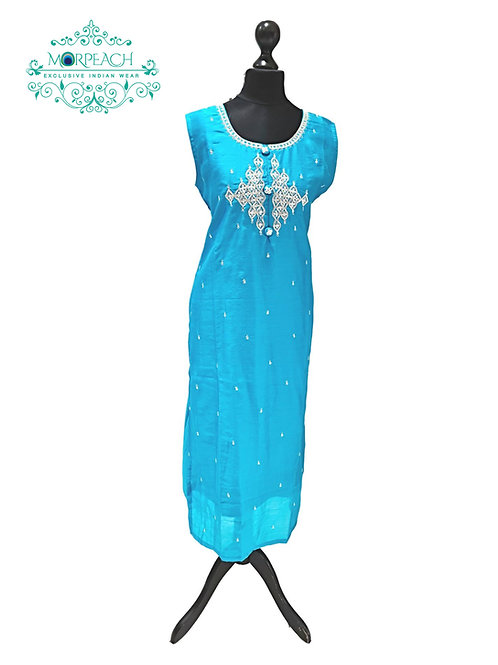 Blue And Silver Silver Kurti (8XL)
