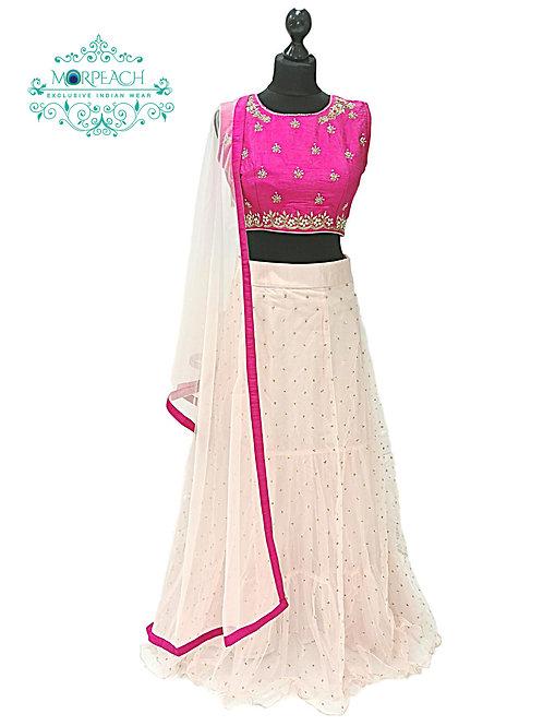 Pink Layered Net Lehenga (Reg)