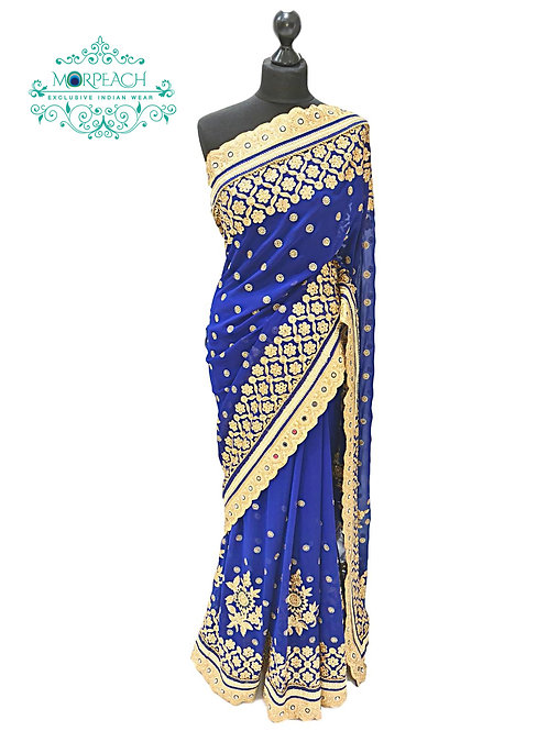 Blue Mirrorwork Chiffon Saree
