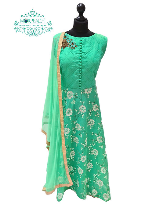 Green Cotton Silk Dress (2XL)