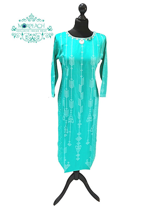 Green Printed Bandhej in Silk (5XL)