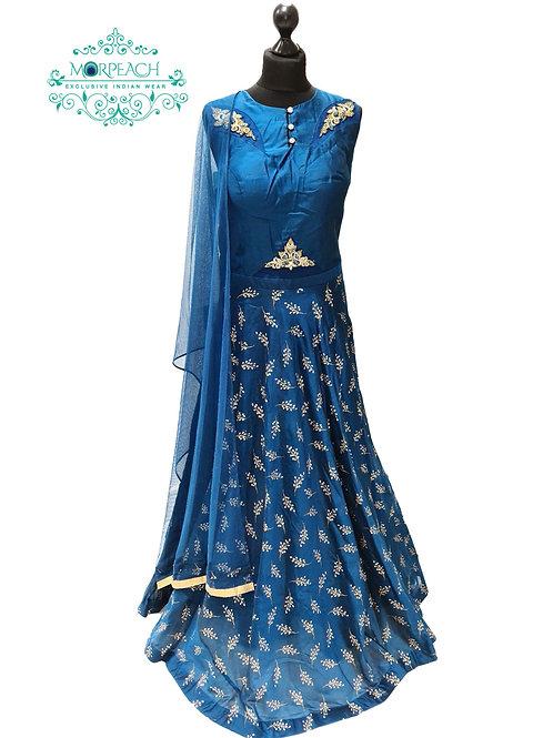 Blue Self Embossed Silk Dress (XL)