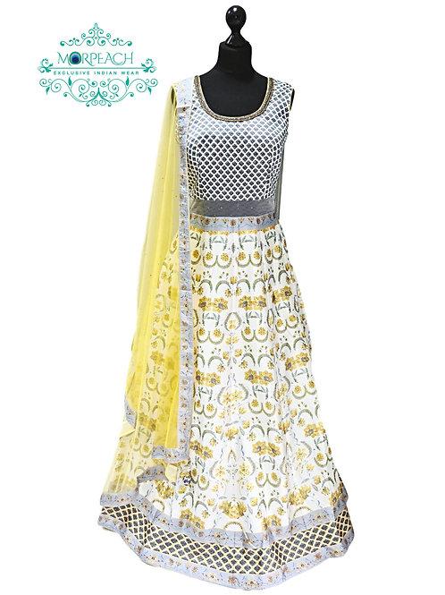 Yellow White Floral Swaroski Diamond Studded Gown